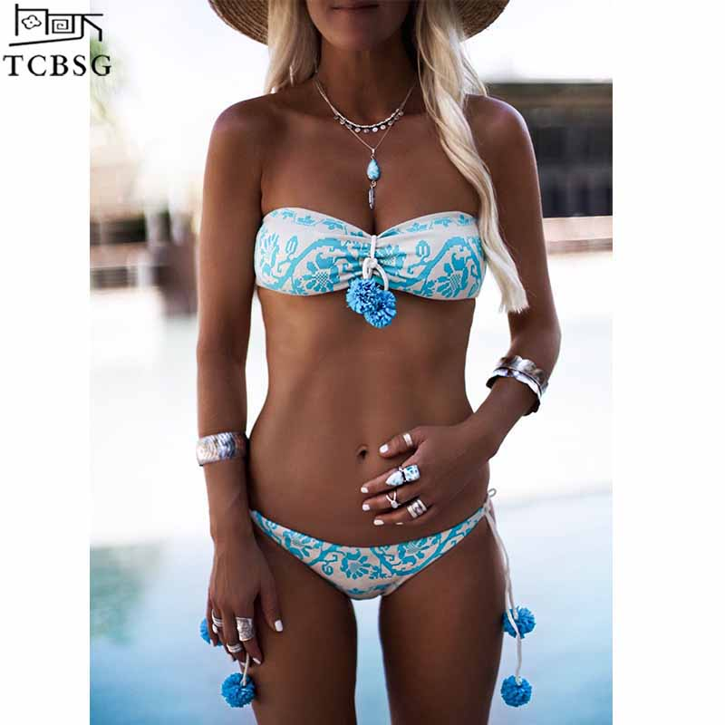 TCBSG 2019 New Arrival Brazilian Sexy Bikinis Women Swimsuit Halter Swimwear Print Bikini Set Swimming Bathing Suits Swim Wear