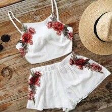 Brandwen women's flowers Sleeveless Tops and Shorts suits women's sets summer casual 2 piece sets female sunglasses women