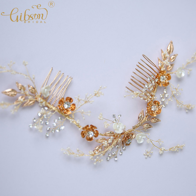 Tropical Beach Party Hair Accessories Headpiece Side Comb Gold Floral With Rhinestone Wedding Bridal Hair Combs tropical luau party picks 50ct