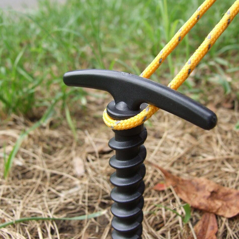 10 stücke Outdoor Ultraleicht Camping Zelt Stakes Pegs Pins Kunststoff Nylon Schraube Spirale Nägel Markise Reise Kit
