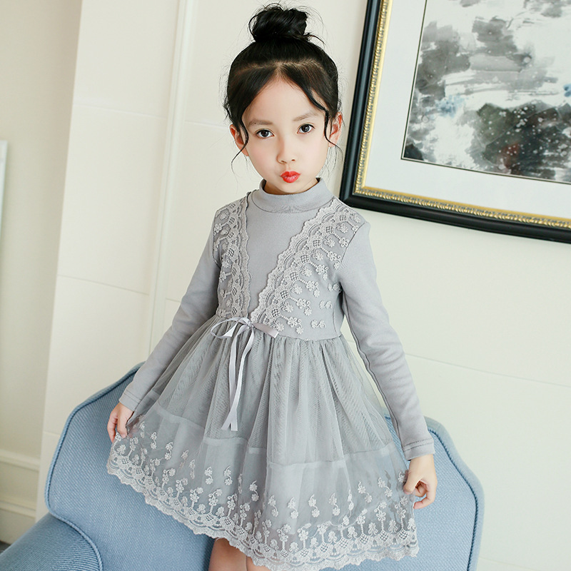 Spring Lace Girls Dresses 2018 Long Sleeve Casual Dress Children Clothes For 4 5 6 7 8 9 10 11 12 13 Years School Uniform 4 5 6 7 8 9 10 11 12 13 years girls school uniform autumn clothes set kids teens long sleeve shirt pant 2pcs children clothing