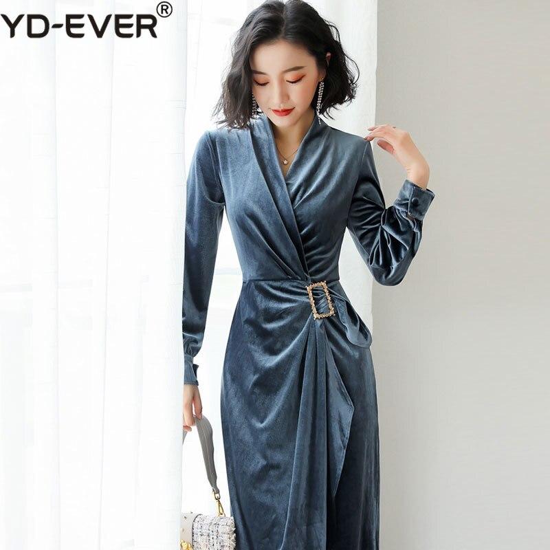 8491310e962 cou Robe Robes Vintage Manches Longues En 2019 Diamant Printemps Femmes  Pièce V Bleu Seule Moulante ...