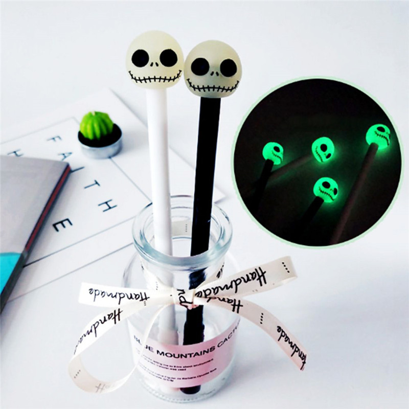 1Pc 0.5mm Cute Luminous Noctilucent Skull Gel Pens School Office Writing Supplies Halloween Student Kids Awards Stationery Gifts