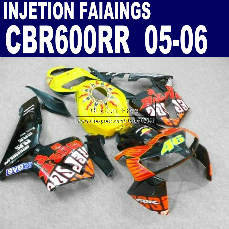 ABS moto Injection road  kit for Honda yellow repsol CBR 600RR fairing CBR600RR 2005 2006 CBR 600 RR 05 06 fairings body parts new hot moto parts fairing kit for honda cbr1000rr 06 07 green injection mold fairings set cbr1000rr 2006 2007 ra17