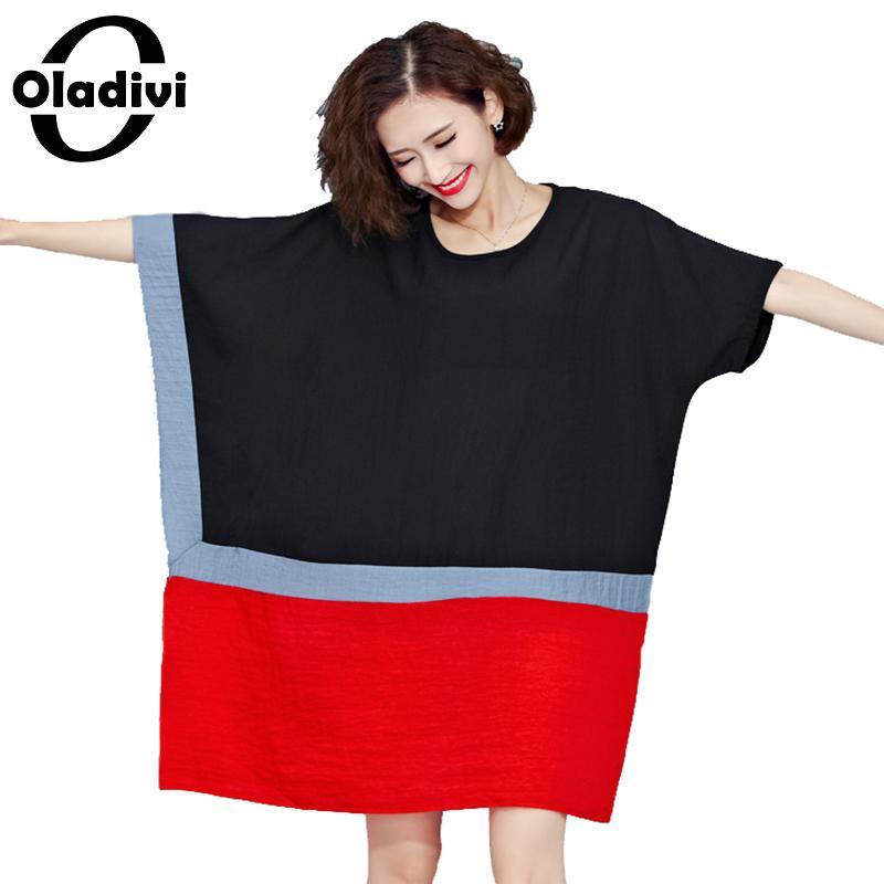 b64cc3fd0762 Plus tamaño de algodón, blusa de lino, vestidos de las mujeres más tamaño  de manga murciélago Casual elegante vestido suelto camisa de moda Tops ...