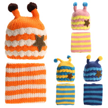 New Cute Winter 5-Star Children Skullies & Beanies Scarf Hat Set Baby Boys Girls Knitted kids Hats & Caps Free shipping