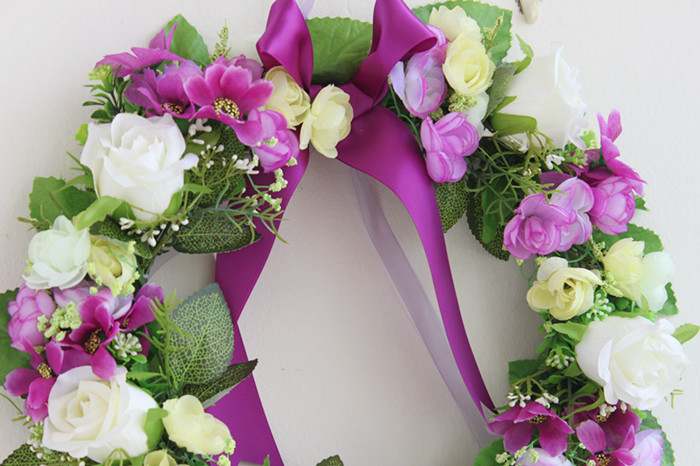 Purple Rose Artificial Flowers Wreath Garland Door Decoration Wedding Flower Home Decor Car Silk In Wreaths Garlands From