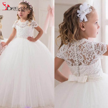 Communion Ball Gown Flower Girls Dresses For Weddings Tulle Little Kids Dresses Formal Lace Christmas Short Sleeve Pageant Gowns