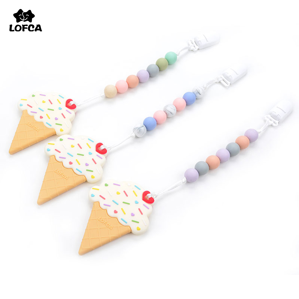 BPA Free Silicone Ice Cream Teething Chew Pacifier Clip Pendant Teether Toys Silicone Teething Baby Teething Accessory Carrier