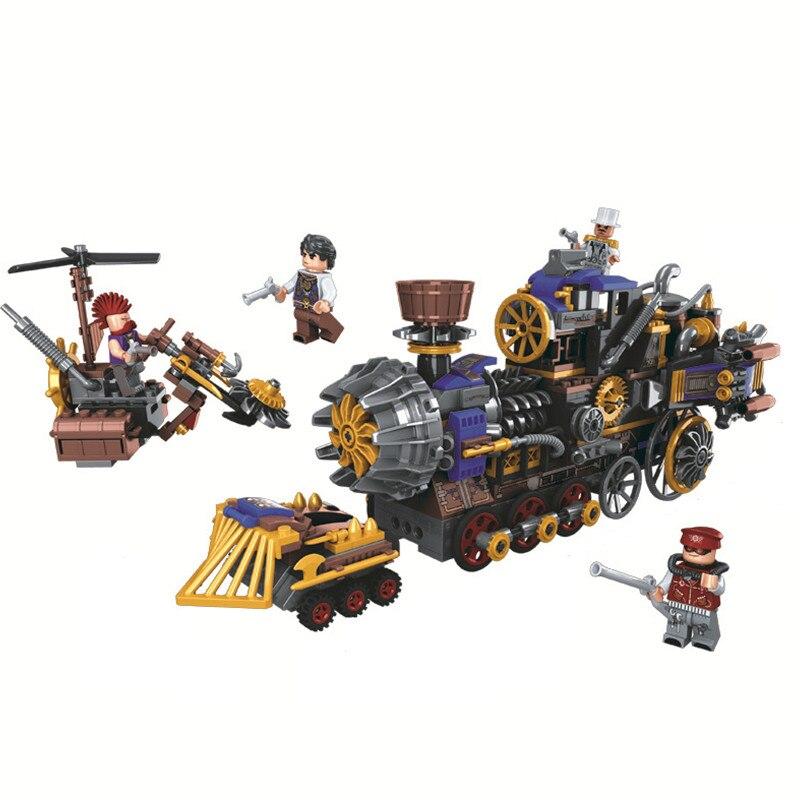Galleria fotografica WEILE di Mezza Età Di Vapore Creatore Militare Treno Building Blocks Set Mattoni Modello Classico Giocattolo Per Bambini Marvel Fantasy Compatibile <font><b>Legoings</b></font>