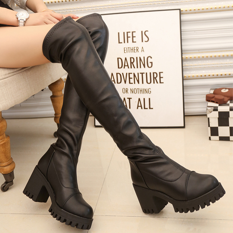 ФОТО 2017 New Women Strech Over The Knee Boots Platform Botas Mujer High Heel Brand Womens Thigh High Boots Soft Leather Thick Bottom