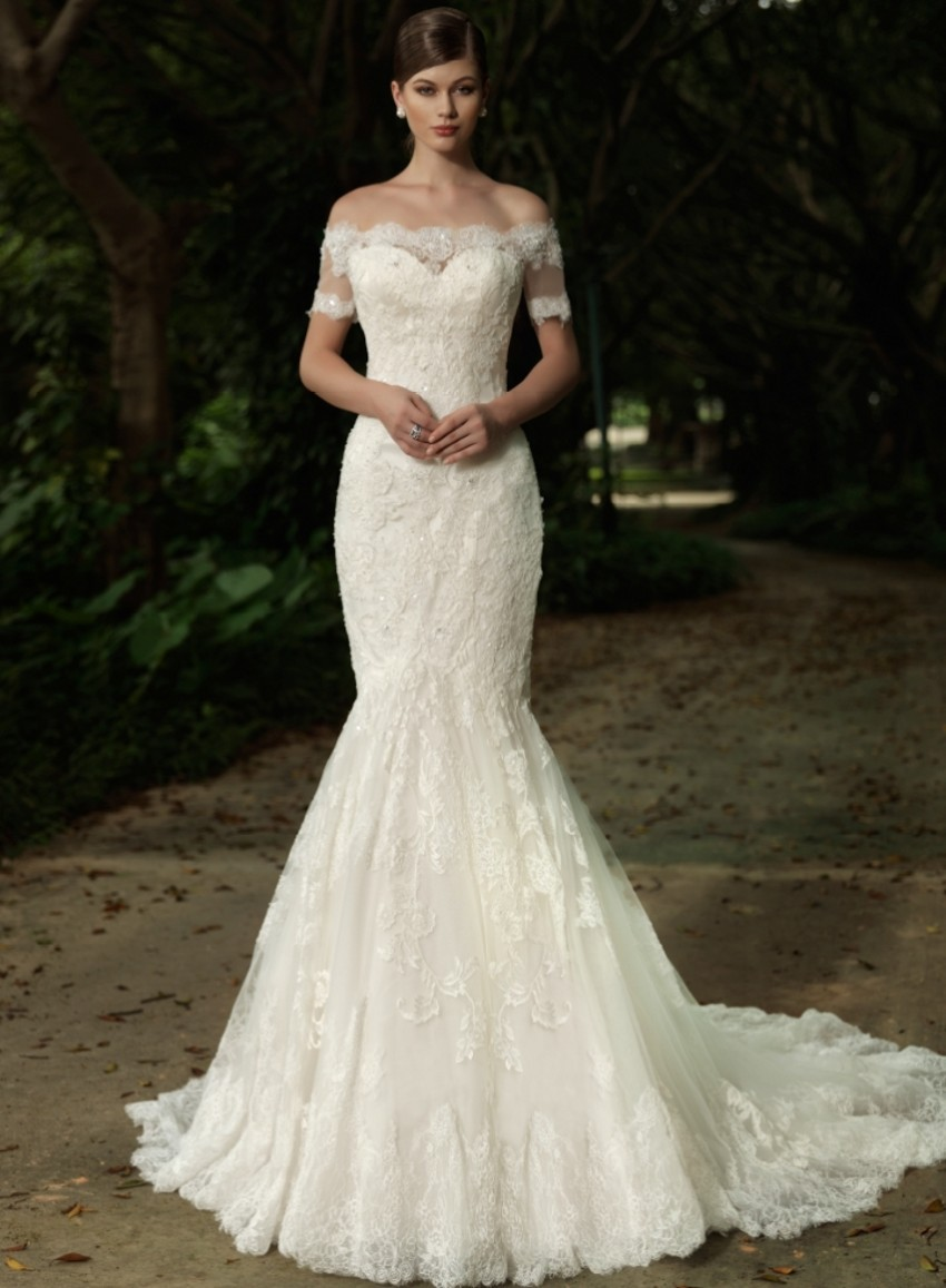43c74f3232c Lace Mermaid Wedding Dress With Short Sleeves - Gomes Weine AG