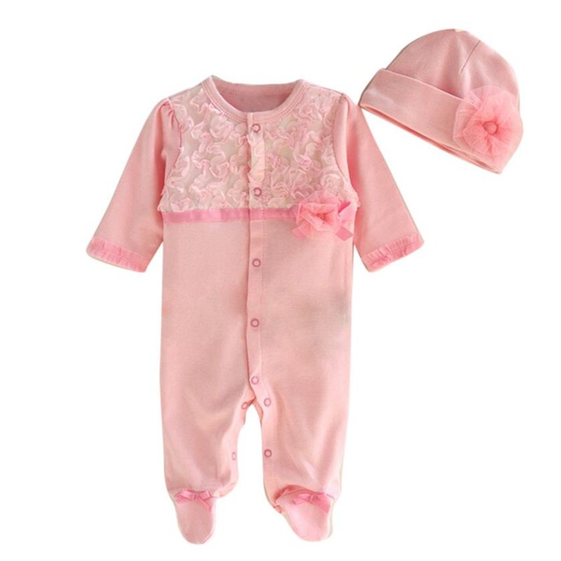 Low price 2pc Newborn Infant Baby Girls Cap Hat+Romper Bodysuit Playsuit Clothing Set Outfit Baby Girl Clothes vetement enfant