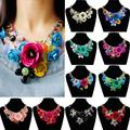 1Pcs/set Hot sale Creative New Women Mixed Style Chain Crystal Colorful Flower Luxury Weave Necklace Accessories Chain
