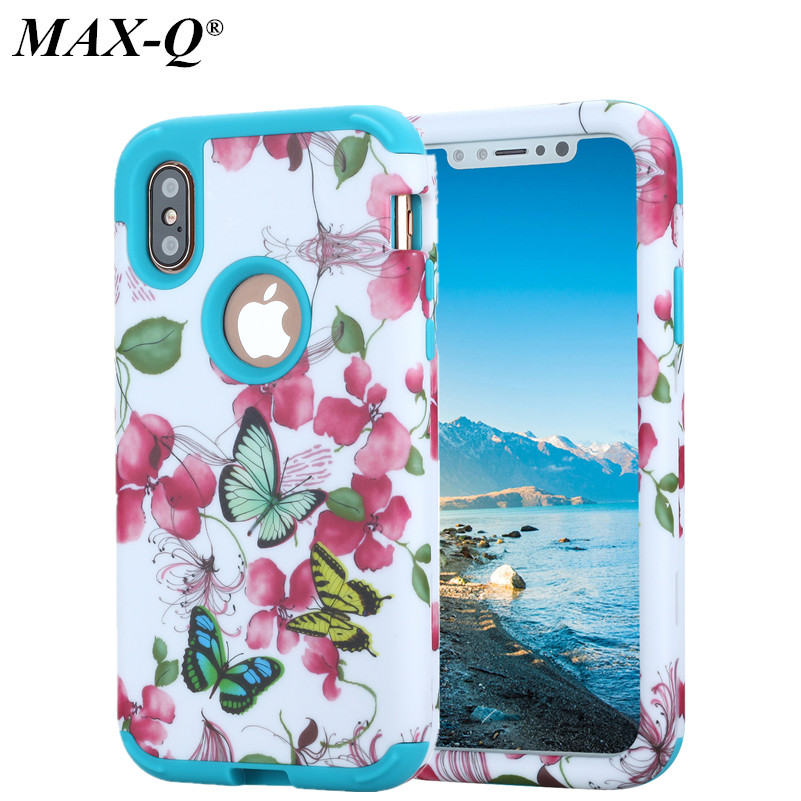 Classical Retro Butterfly Flowers Silicone + PC Phone Back Cover Case For Apple