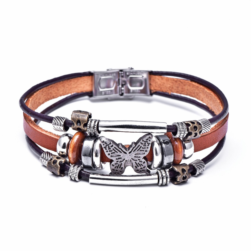 Josbores Butterfly Bracelets Hand Made Braided Buckle Fashion Style Popular Charm Leather Bracelets Bangles for Men Women