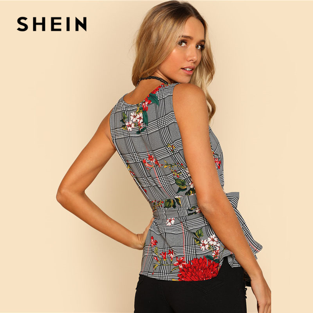 SHEIN Self Belted Floral And Plaid Shell Top Women Fashion Round Neck Sleeveless Casual Blouse 2018 Summer Vacation Blouse 1