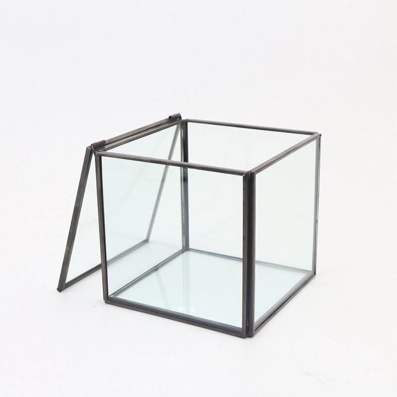 Hot Sale Retro Square Glass Jewelry Box Copper Frame European ...