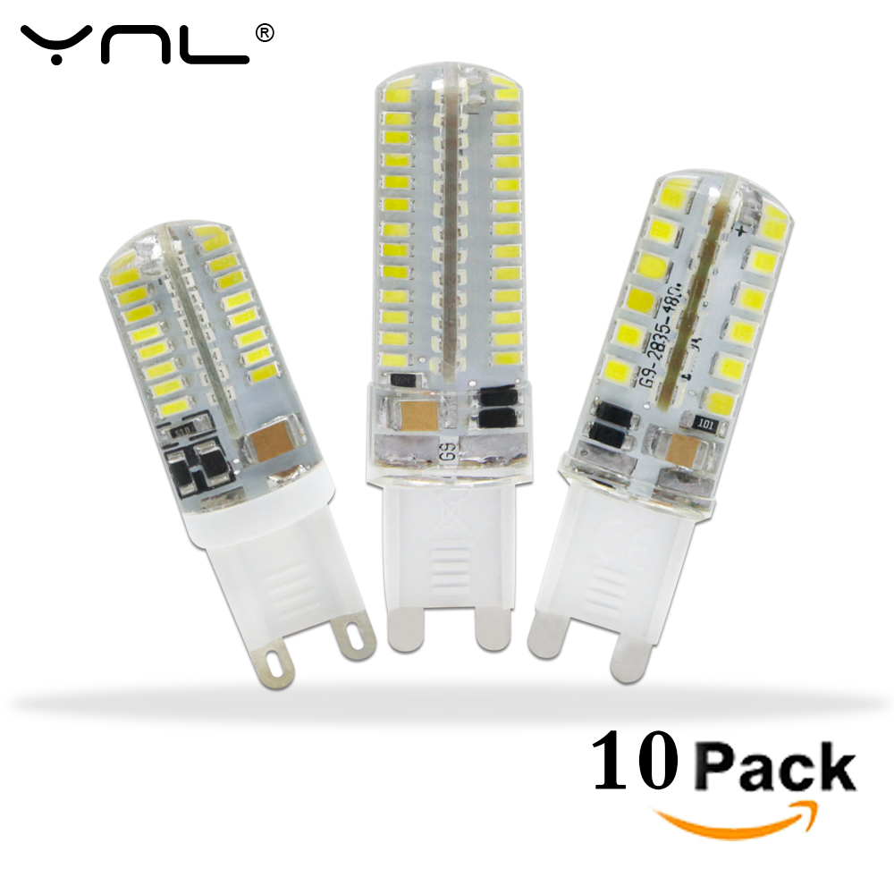 10pcs/lot LED G9 Lamp AC 220V G9 LED Bulb SMD2835 3014 48 64 104LEDs Lampada LED 360 degrees Replace Halogen Bulb 10pcs led g4 lamp 220v g4 led bulb light ac dc 12v 10w 6w smd 2835 3014 spotlight 360 beam angle replace for crystal chandelier