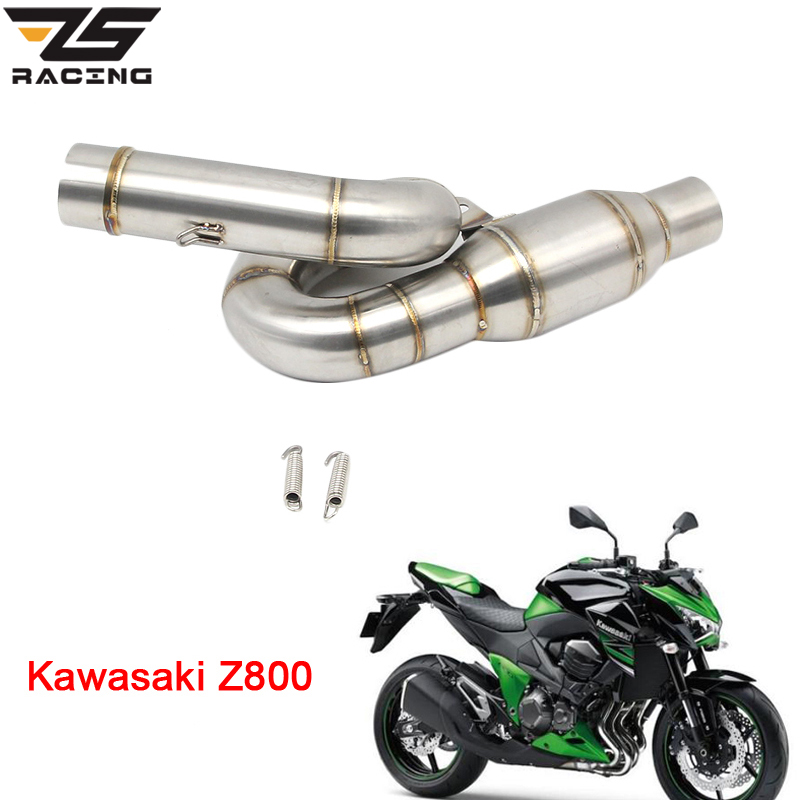 ZS Racing Motorcycle Exhaust Muffler Middle Link Pipe Stainless Steel Slip On Escape For Kawasaki Z800 2013-2016