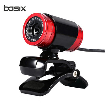 BASIX New USB 2.0 Web Camera HD 640*480 Resolving power Webcam MIC for MINI/PC Black and Red High Quality