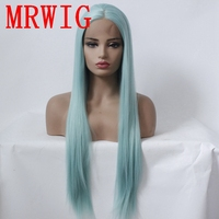 MRWIG Free Part Light Blue/Green Synthetic Glueless Front Lace Wig 18in&26in Real Hair Natural Looking for Woman