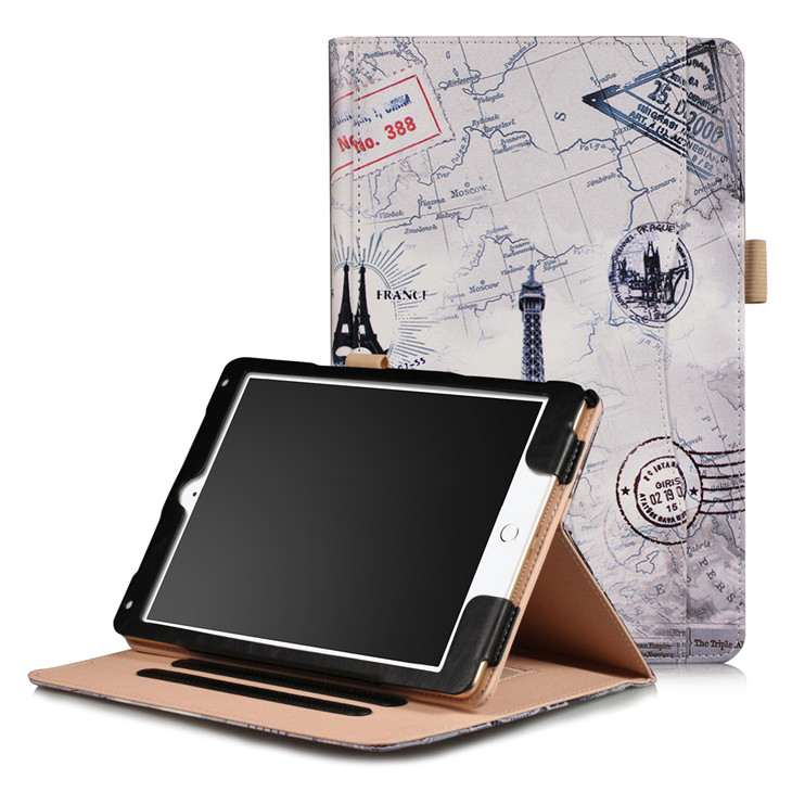 Retro tower Wallet case with hand loop, stand and leather style for iPad 9.7 (2017, 2018, A1893), Air 1,2