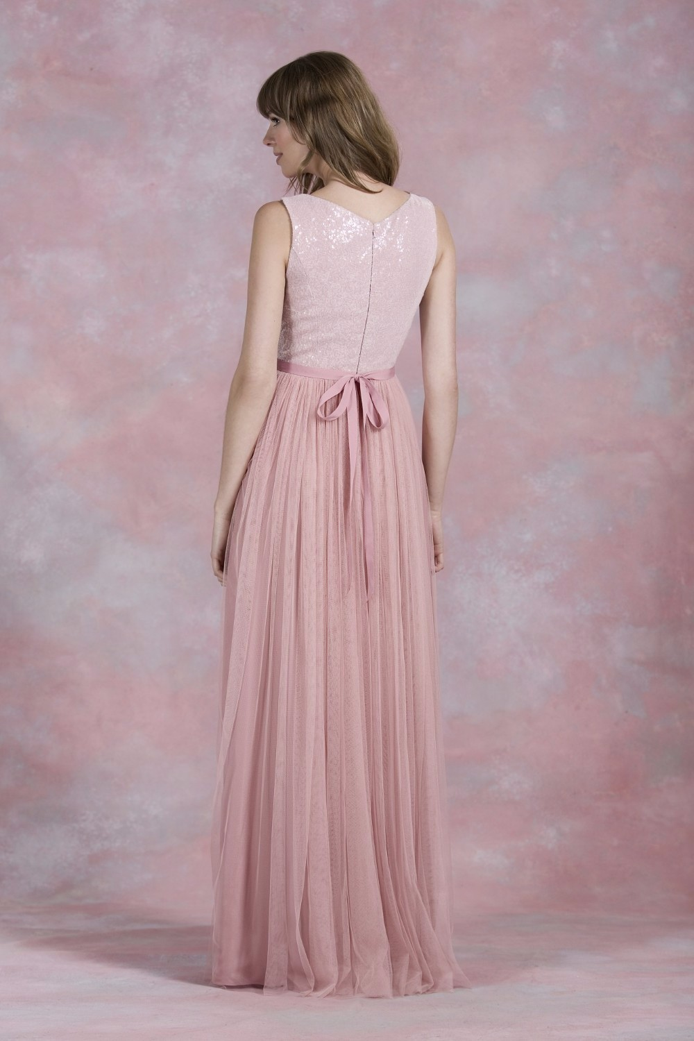 Nude Pink Sequined A Line Zipper Back Long Tulle Bridesmaid Dress 2