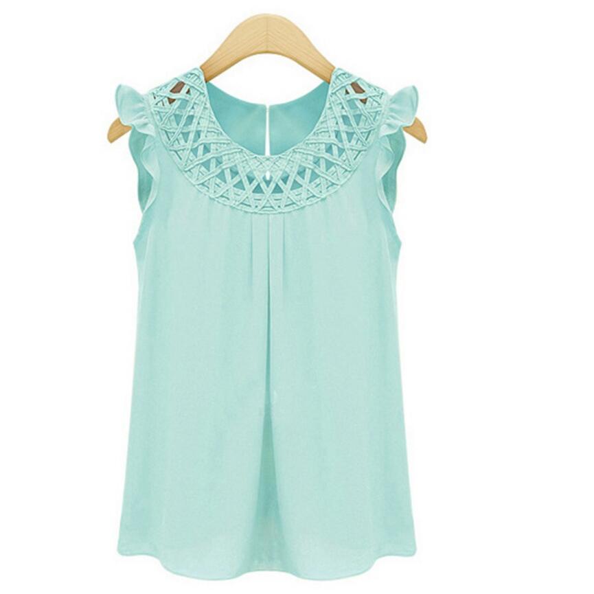 pink Camisa Vintage Mangas yellow Tops Nueva White Mujeres Blusas Moda Sin Mujer Llegada Cuello green 2019 Gasa Verano De aTA1Bq