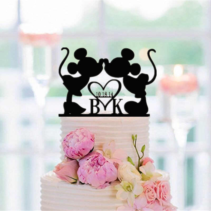 Personalized Cake Topper Black Acrylic  Mickey Minnie Cake Topper Custom Name and Date Cake Accessory Wedding DecorationPersonalized Cake Topper Black Acrylic  Mickey Minnie Cake Topper Custom Name and Date Cake Accessory Wedding Decoration