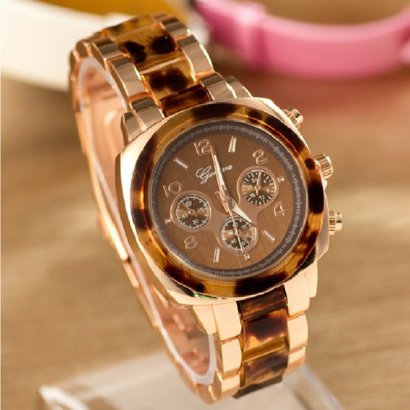 NEW Geneva Metal Watch Women Leopard Rhinestone Wristwatch Woman Golden Watch crystal analog quartz Dropshipping 15 pcs nylon face eye lip makeup brush set page 3