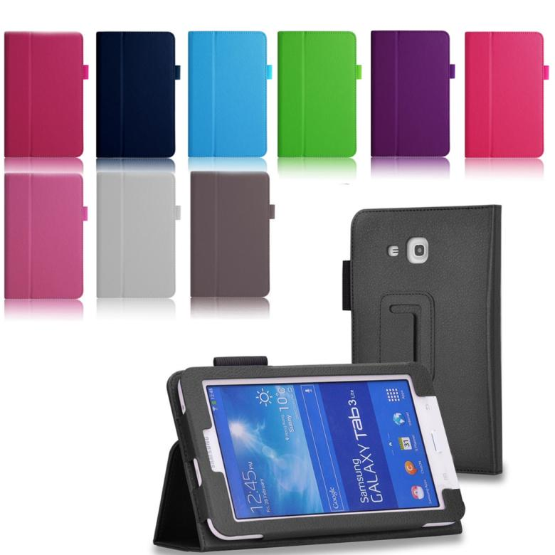 For Samsung Galaxy Tab 3 Lite T110 T111 T113 T116 PU Flip Stand leather Case Cove with Auto Sleep/Wake Feature+2 screen film
