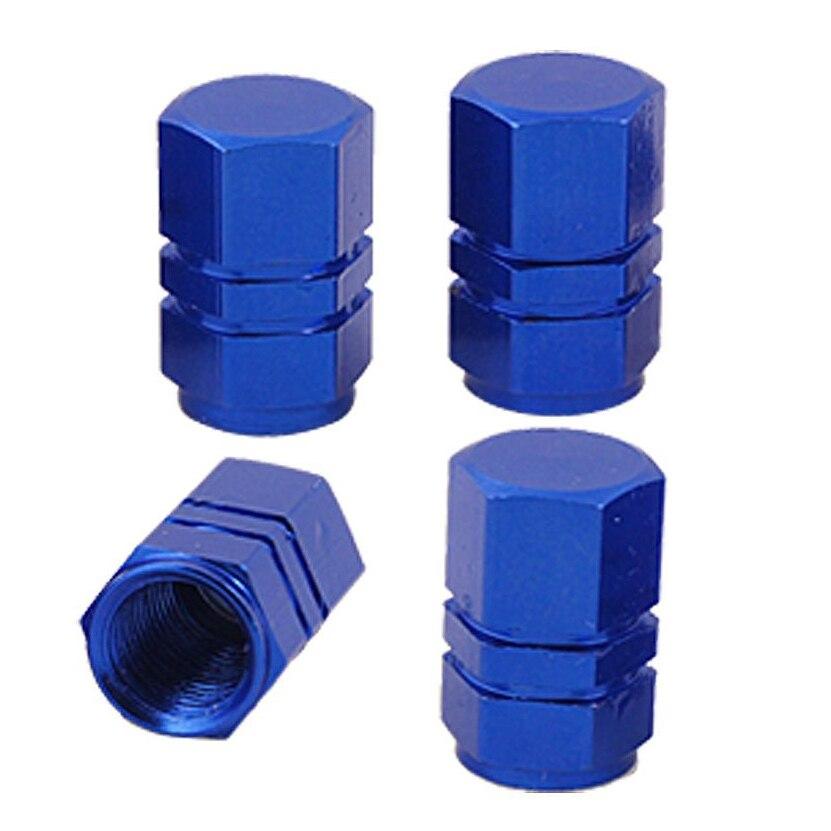 Auto Car Dark Blue Metal Tire Valve Covers Caps 4 Pcs