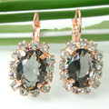 Navachi Square Gray Cubic Zircon Crystal Yellow Gold Plated Earrings Free Shipping SMT2540