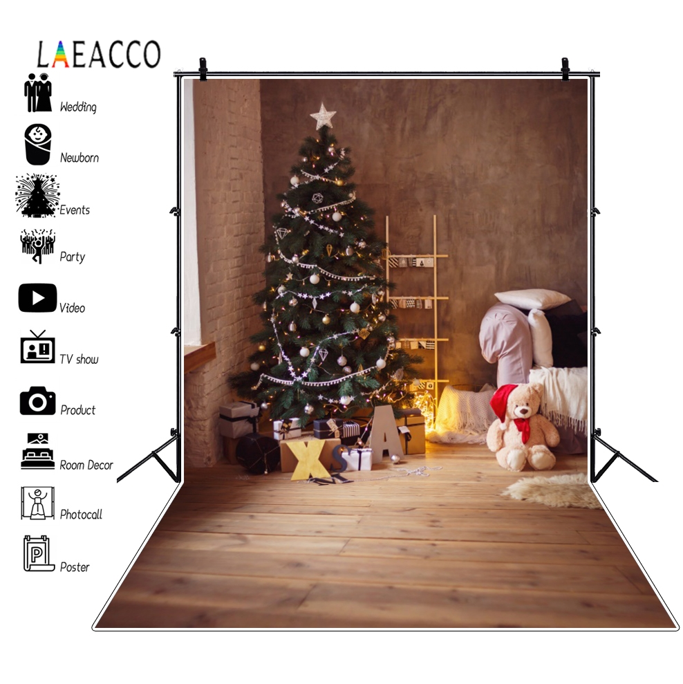 Laeacco Christmas Tree Shelf Bear Toy Wooden Floor Photographic Backgrounds Customized Photography Backdrops For Photo Studio