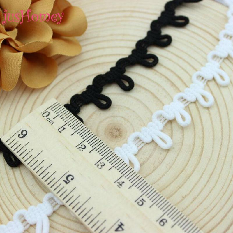 60 Yards White, Black Braid Loop Trim - Width 1.3cm, Loop 0.7cm - DIY Bridal Button Loop Elastic Braid Trim Corset Button Cord