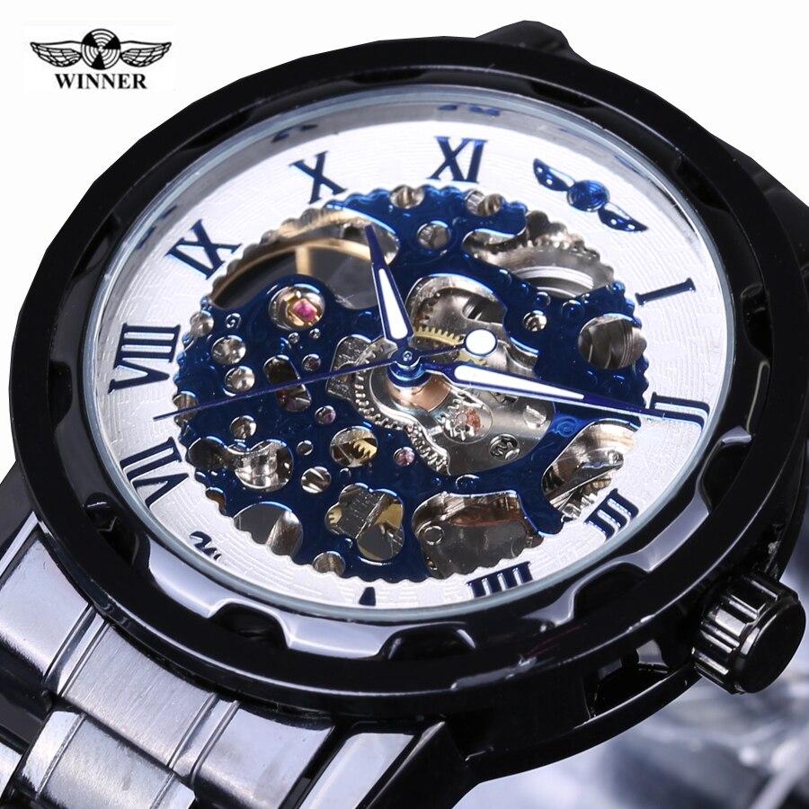 2016 Fashion Retro Vintage Stainless Steel Skeleton Mechanical Watch For Man Black Mechanical Wrist Watches Winner