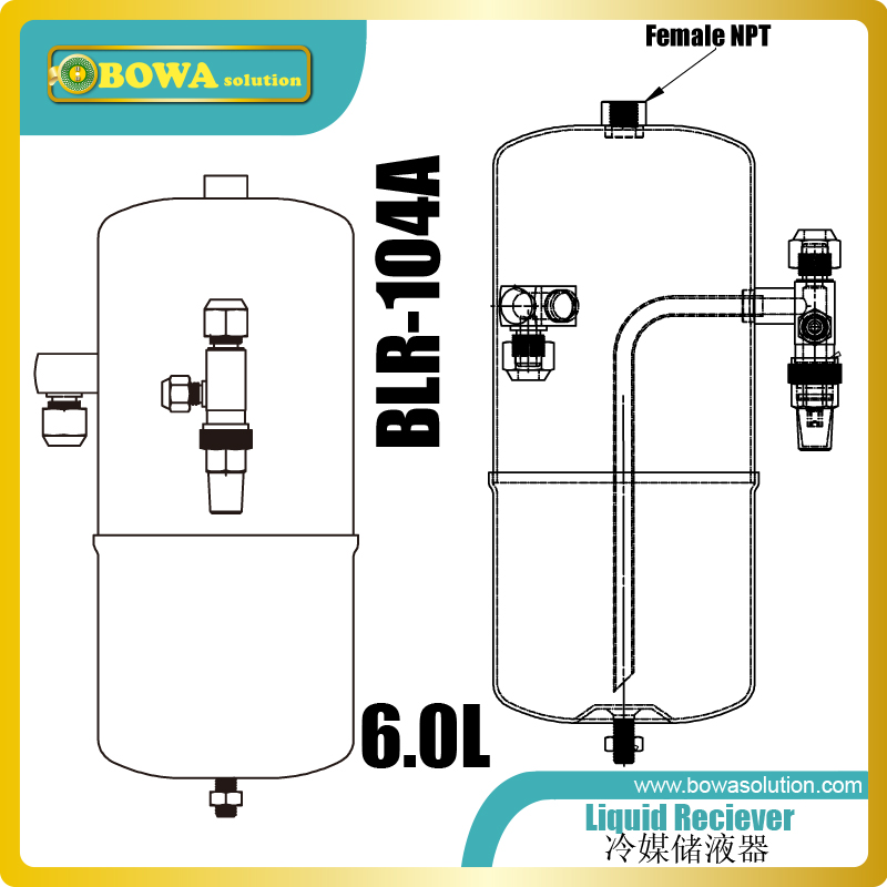 6L liquid receivers with 1/2 female NPT connections which provides multi-functions access port, such as flash evaporator in EVI6L liquid receivers with 1/2 female NPT connections which provides multi-functions access port, such as flash evaporator in EVI