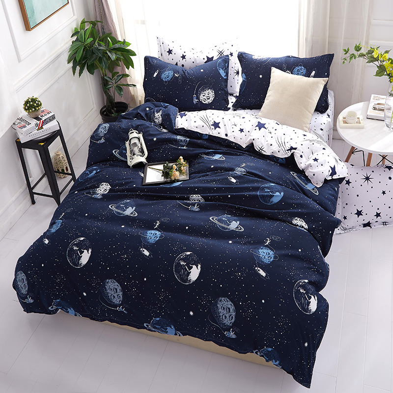 Universe and star printing Dark Blue and white color bed comforter cover sets europe style 4pcs bed set duvet cover pillow coverUniverse and star printing Dark Blue and white color bed comforter cover sets europe style 4pcs bed set duvet cover pillow cover