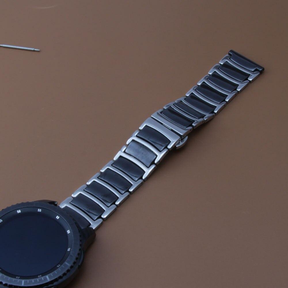Mode Uhrenarmband Ersatz cool Sommer Stil Uhr Zubehör Keramik Uhrenarmband 22mm schwarz fit Gear S3 Schwarz Promotion neu