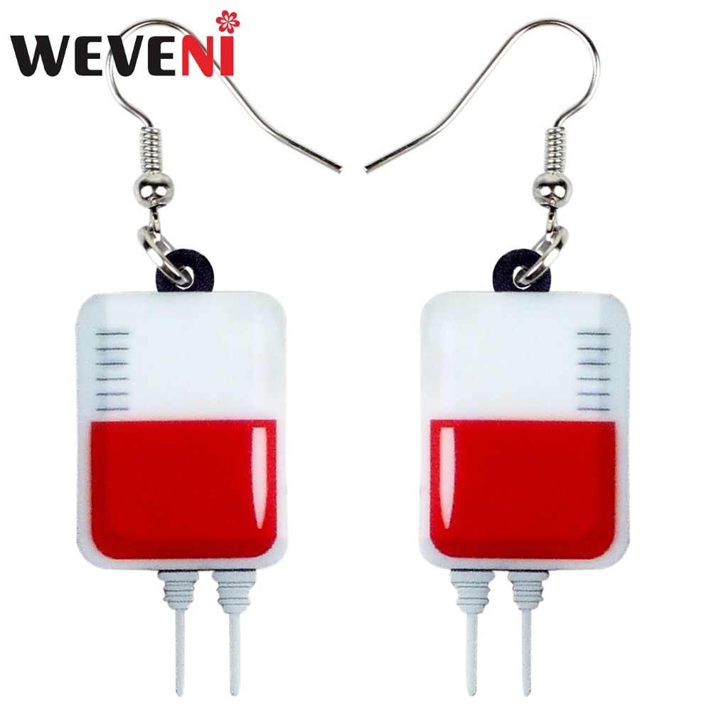 WEVENI Acrylic Halloween Fashion Blood Plasma Bag Earrings Drop Dangle Trendy Cute Jewelry For Women Girls Female Anime Charms