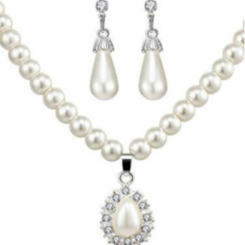 2018 Fashion Emulation Pearl Necklace/Earrings Jewellery Set For Women Bride Set Wedding Party Joyme