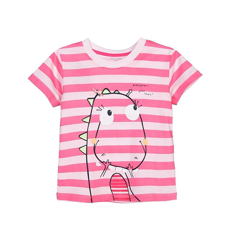 17 New Little Maven 1-6 Years Girls T-shirt Short Sleeve Animal Printing Children Tees Rabbit Cat Printing Kids Tops KF046-1 8
