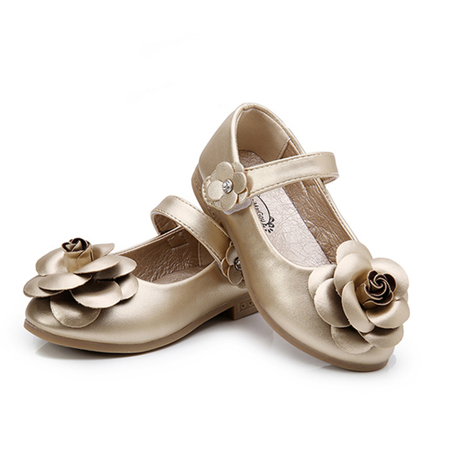 Insole 15.8-21.8cm Children Shoes Girls 2016 Autumn New Fashion Flower Dress Shoes For Girls Solid Simple Cute KidsShoes 9181W