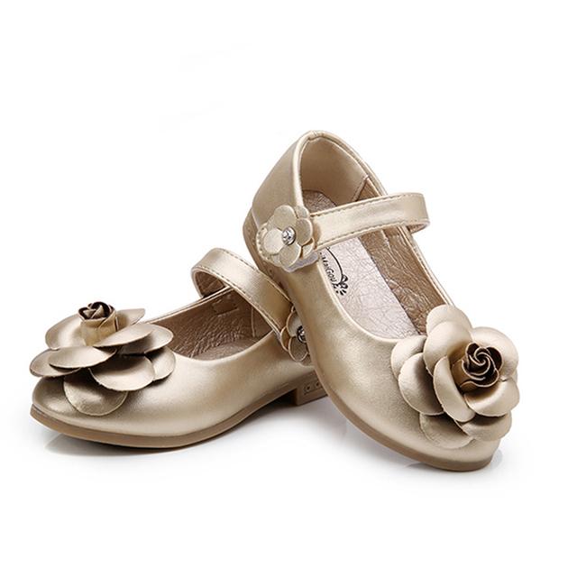 Plantilla 15.8-21.8 cm Zapatos de Los Niños Niñas 2016 Otoño Nueva Flor de La Manera Zapatos de Vestir Para Niñas Sólido Simple Lindo KidsShoes 9181 W