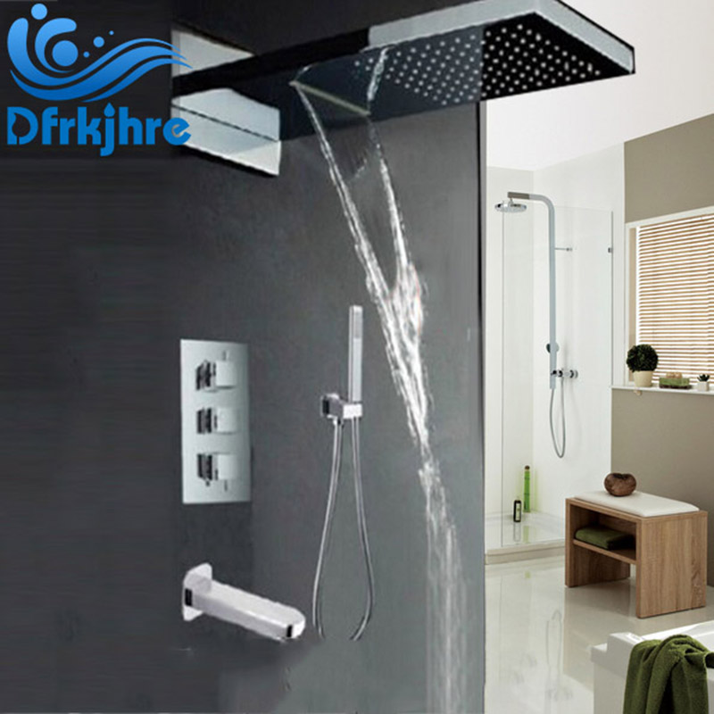 Thermostatic Chrome Square Rain Waterfall Bathroom Shower Faucet Bathtub Mixer Tap traditional faucet chrome thermostatic bathroom faucets plastic handshower dual holes shower mixer tap