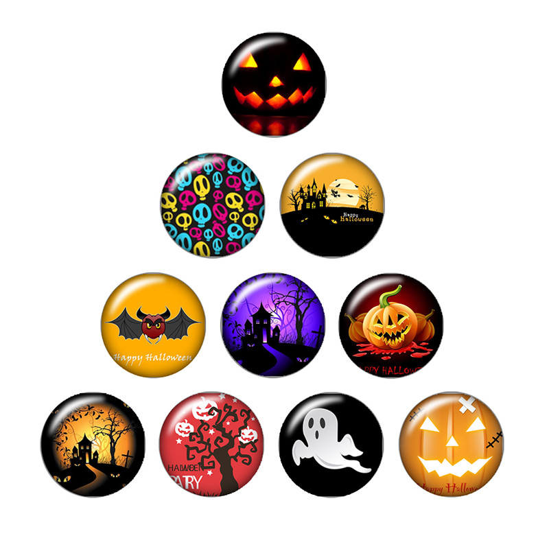 Happy Halloween Pumpkin ghosts 10pcs mixed 12mm/18mm/20mm/25mm Round photo glass cabochon demo flat back Making findings happy halloween letter pumpkin cat design cushion pillow case
