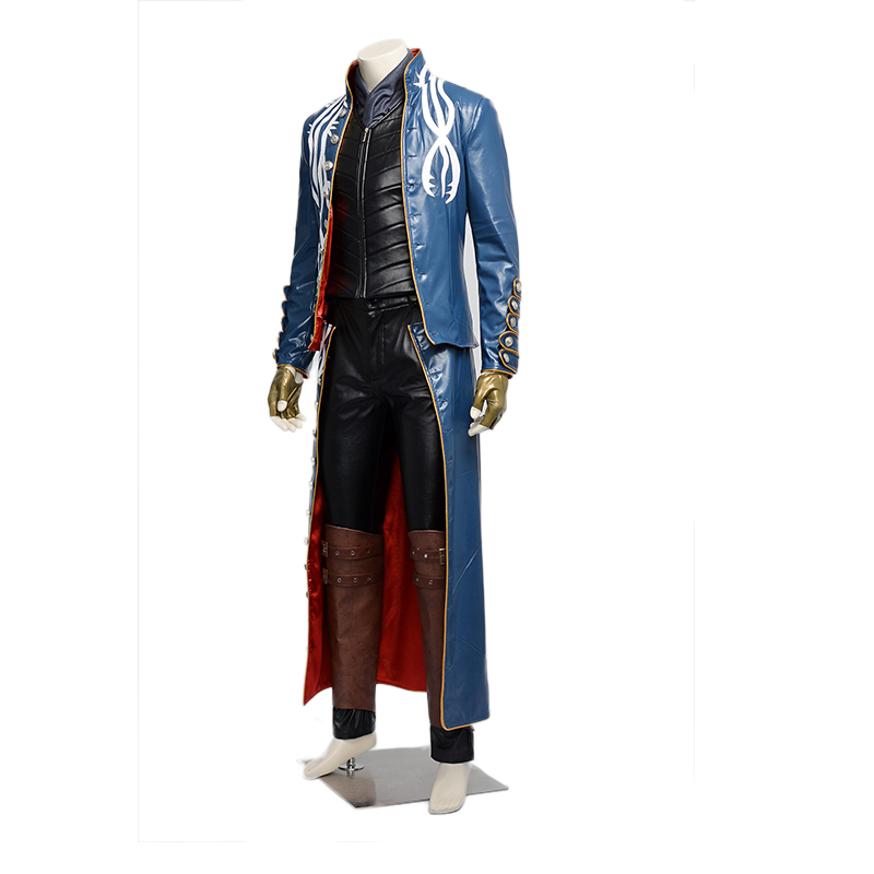 New Updated Version Quality Vergil Cosplay  Costume in Anime Aame Devil May Cry III 3 for Halloween/party/masquerade