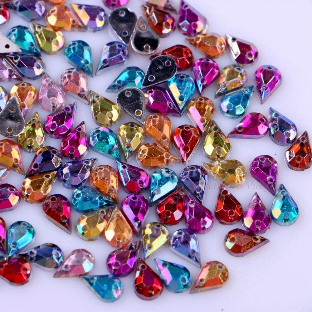 Смешанные AB цвета DIY мм 5×8 мм пришить слезы Стразы два отверстия Вышивание на кристаллах пришить горный хрусталь бусины 200 шт./упак.