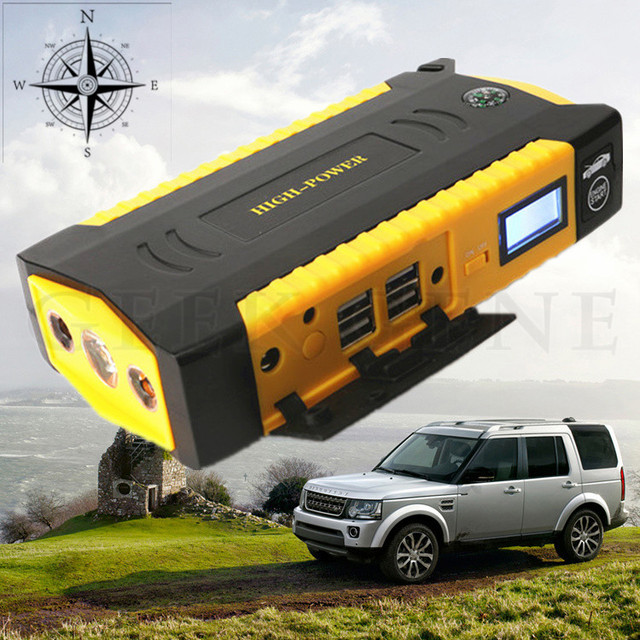 Super Power 12V Emergency 16000mAh Car Jump Starter Mini 4USB Power Bank Compass SOS Light 600A Peak Car Battery Booster Charger